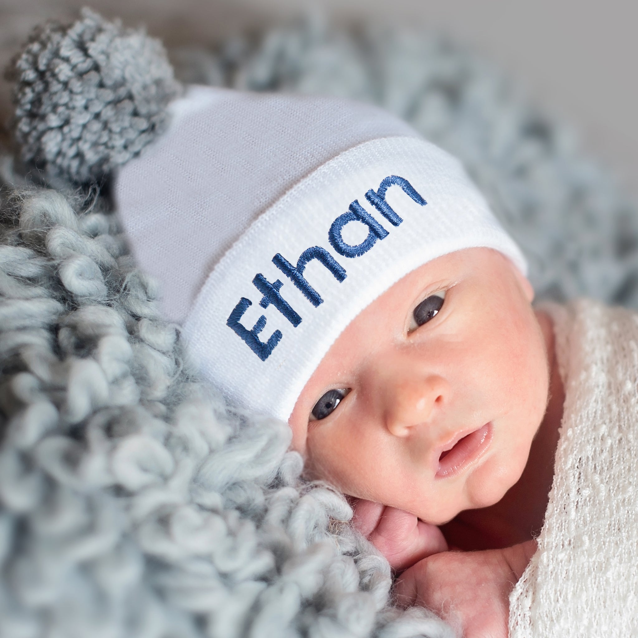 ilybean White Personalized Newborn Boy Hospital Hat with Handmade Grey Pom Pom