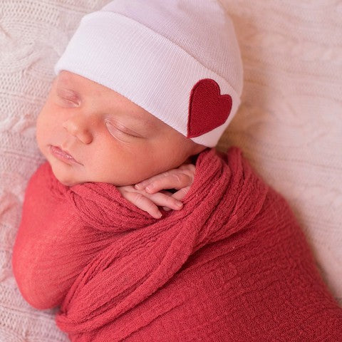 ilybean White Hat with Red Satin Heart Patch Newborn Gender Neutral Hospital Hat