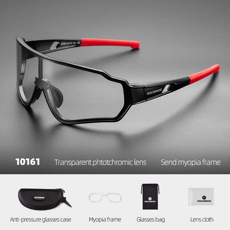 ROCKBROS Polarized Cycling Glasses Hiking Sunglasses Photochromic Eyewear Outdoor Sport Inner Frame Bicycle Glasses For Men