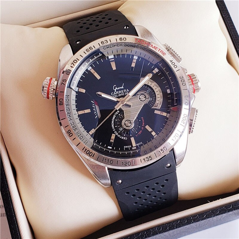 TAG Mens Watches Top Brand Luxury Stainless Steel Case Rolexable Automatic Mechanical Male Clock Silicone Band Heuer Wristwatch