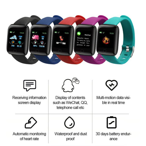116 PLUS Smart Bracelet Watch Bluetooth 4.2 Heart Rate/Oxygen BloodPressure SportFitness Tracker Smart Waterproof Watch
