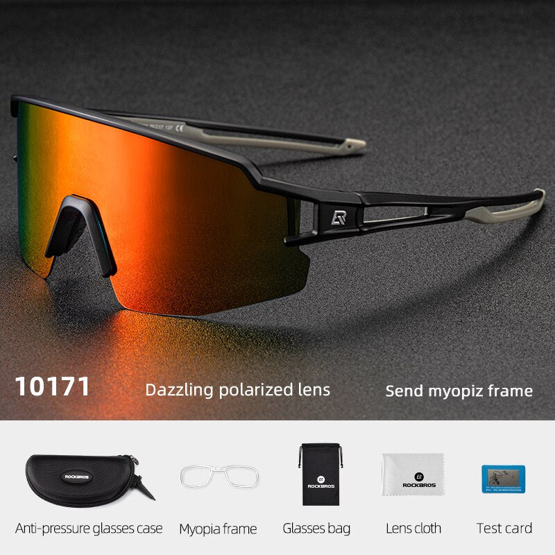 ROCKBROS Photochromic Cycling Glasses Polarized Built-in Myopia Frame Sports Sunglasses Men Women Glasses Cycling Eyewear Goggle