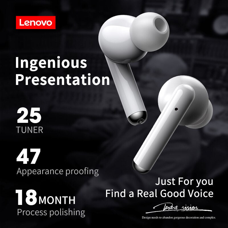 NEW Original Lenovo LP1 TWS Wireless Earphone Bluetooth 5.0 Dual Stereo Noise Reduction Bass Touch Control Long Standby 300mAH