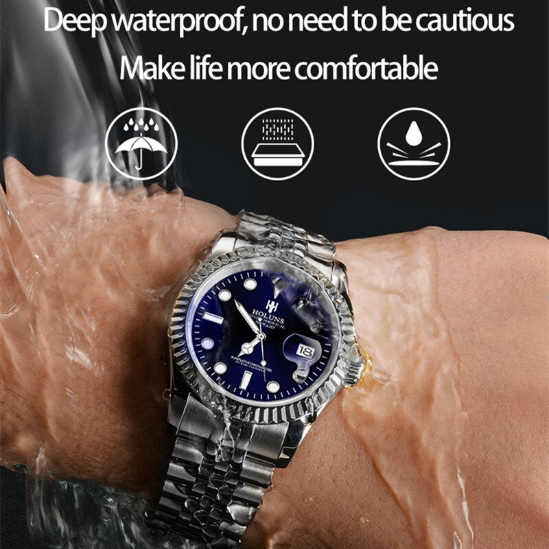 HOLUNS Mens Watches Japanese Miyota Quartz Movement Watch Sports Male Business Calendar 5ATM Waterproof Casual Relogio Masculino