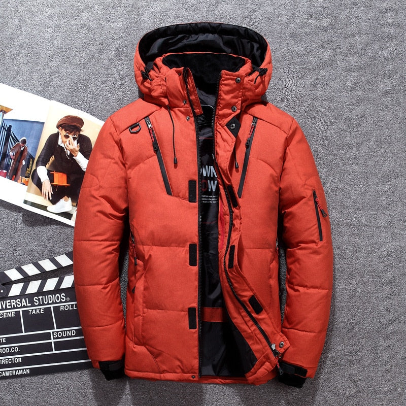 -20 Degree Winter Down Coat Men White Duck Down Parkas Jacket Mens Thick Warm Snow Parka Jacket Overcoat Windbreaker Warm Parkas
