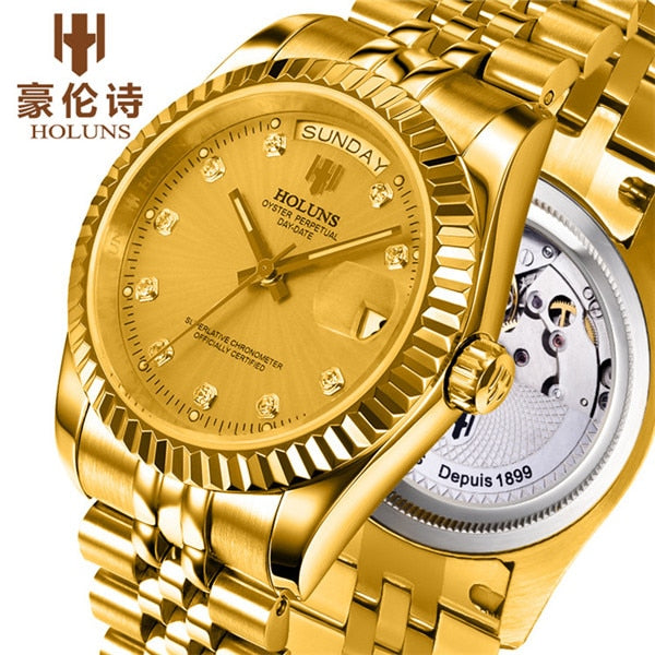 HOLUNS Watch Men Sapphire glass Gold Watch Men Automatic Mechanical stainless Steel date week wrist watches relogio masculino