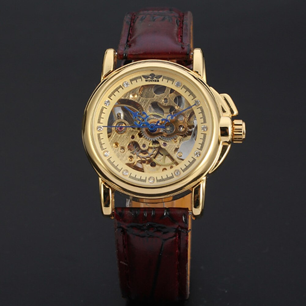 2016 Relogio Winner Skeleton Women Wristwatches Ladies Clock Leather Strap Steampunk Casual Watches Automatic Mechanical Watch