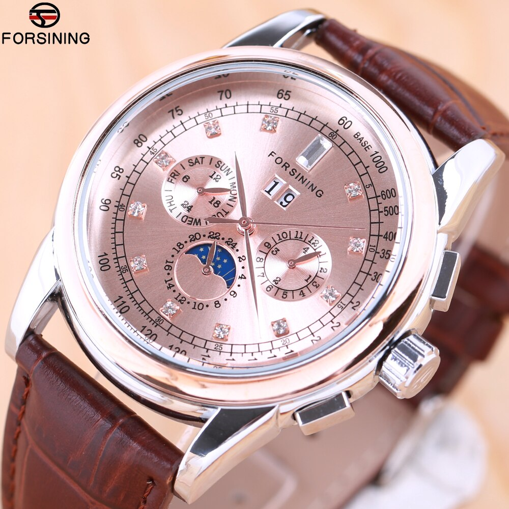 2018 FORSINING Simple Brand Men Fashion Watches Casual Auto Mechanical Genuine Leather Strap Watch Rhinestone Moon Phase Display