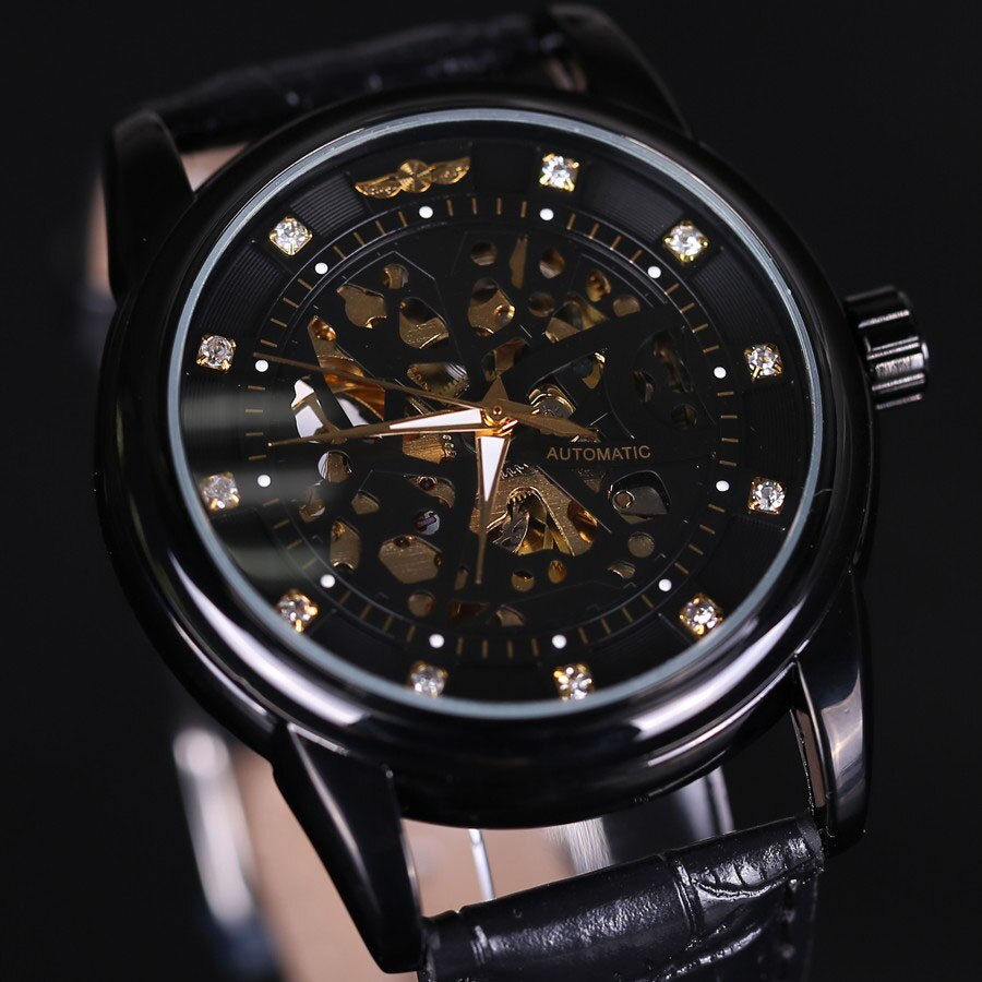 2018 New WINNER Top Luxury Brand Men Watch Automatic Self-Wind Skeleton Watch Black Gold Diamond Dial Men Business Wristwatches