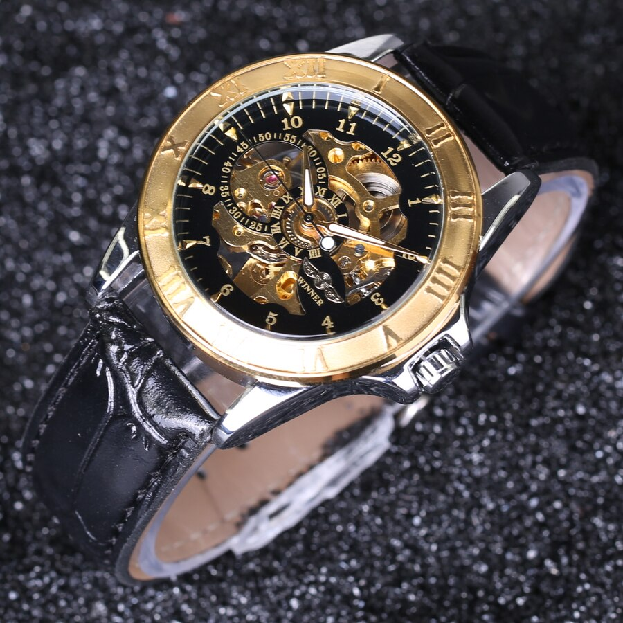 Men Black Gold Hollow Engraving Elegant Leather Strap watches Winner Men's Watch Automatic Self Wind Watch Skeleton Watch