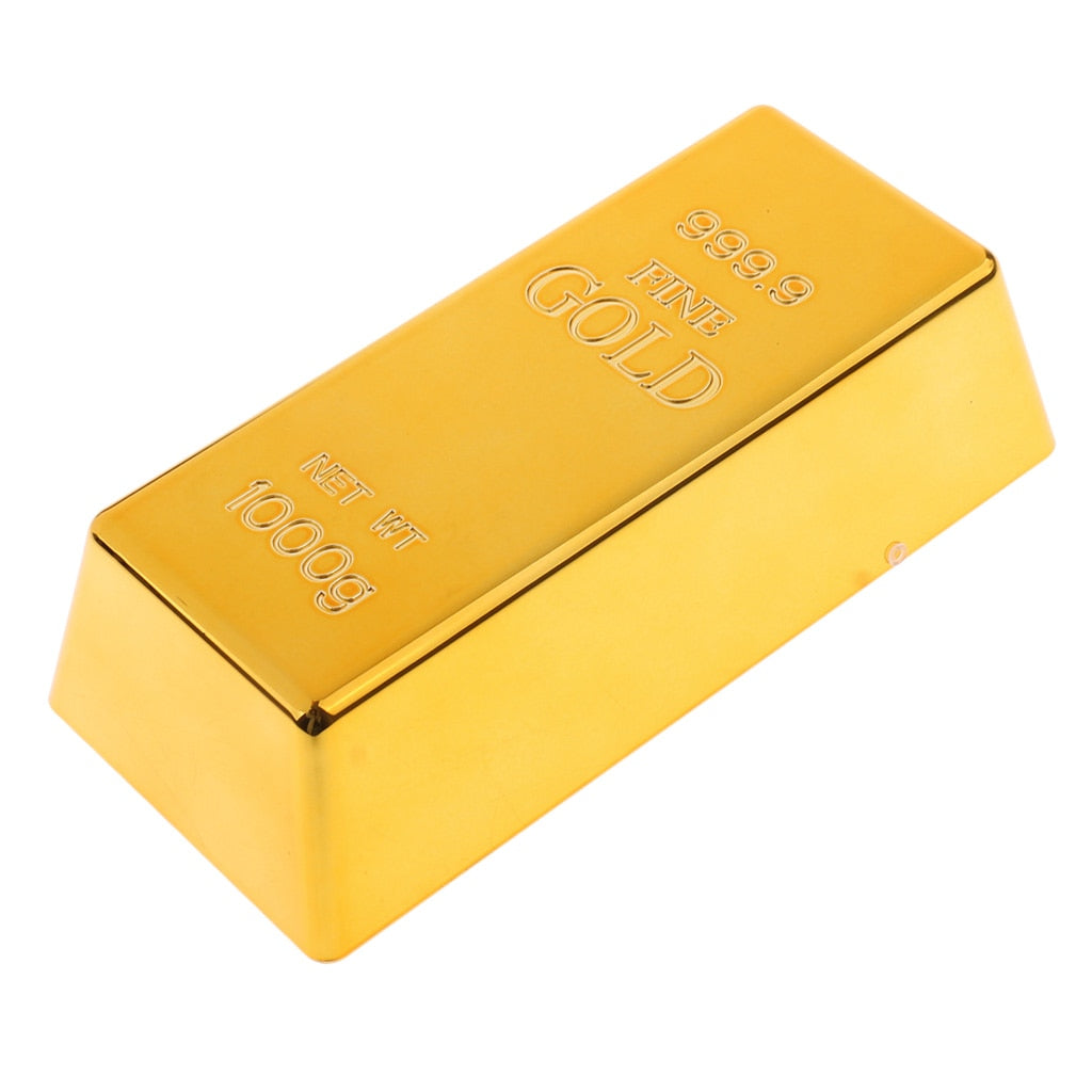 1kg Creative Fake Gold Bullion Bar Paperweight Door Stop for Childen Kids Toys