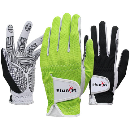 Efunist Golf Glove Men Left Hand Breathable Green 3D Performance Mesh Non-slip Micro Fiber Golf Gloves