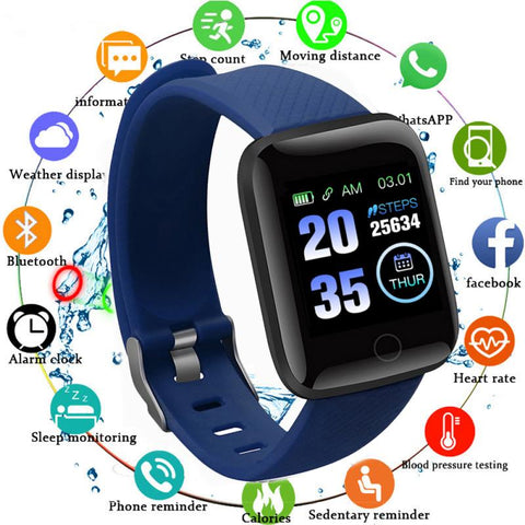 116 Plus Smart Watch Men Women Smartwatch Bluetooth Smart Band Heart Rate Bracelet Blood Pressure Monitor Sport Waterproof watch