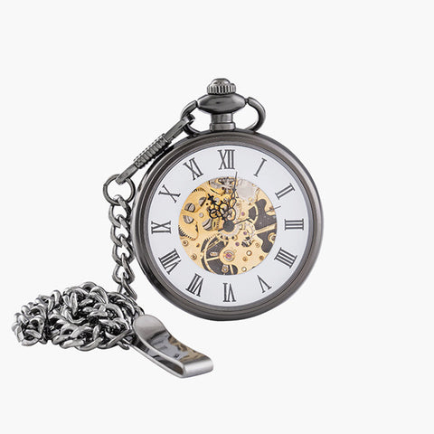 Vintage Charm Matte Black Unisex Retro Roman Number Mechanical Steampunk Pocket Watch Women Man Necklace Pendant with Chain