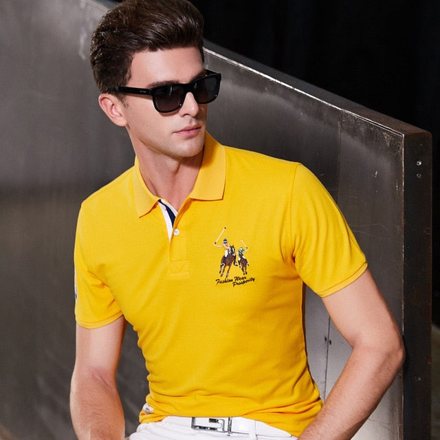 Fashion Summer Short Sleeve Solid Polo Shirt Men Cotton Print Slim Casual Polos Breathable Embroidery  Shirt Mens ClothingYP9099