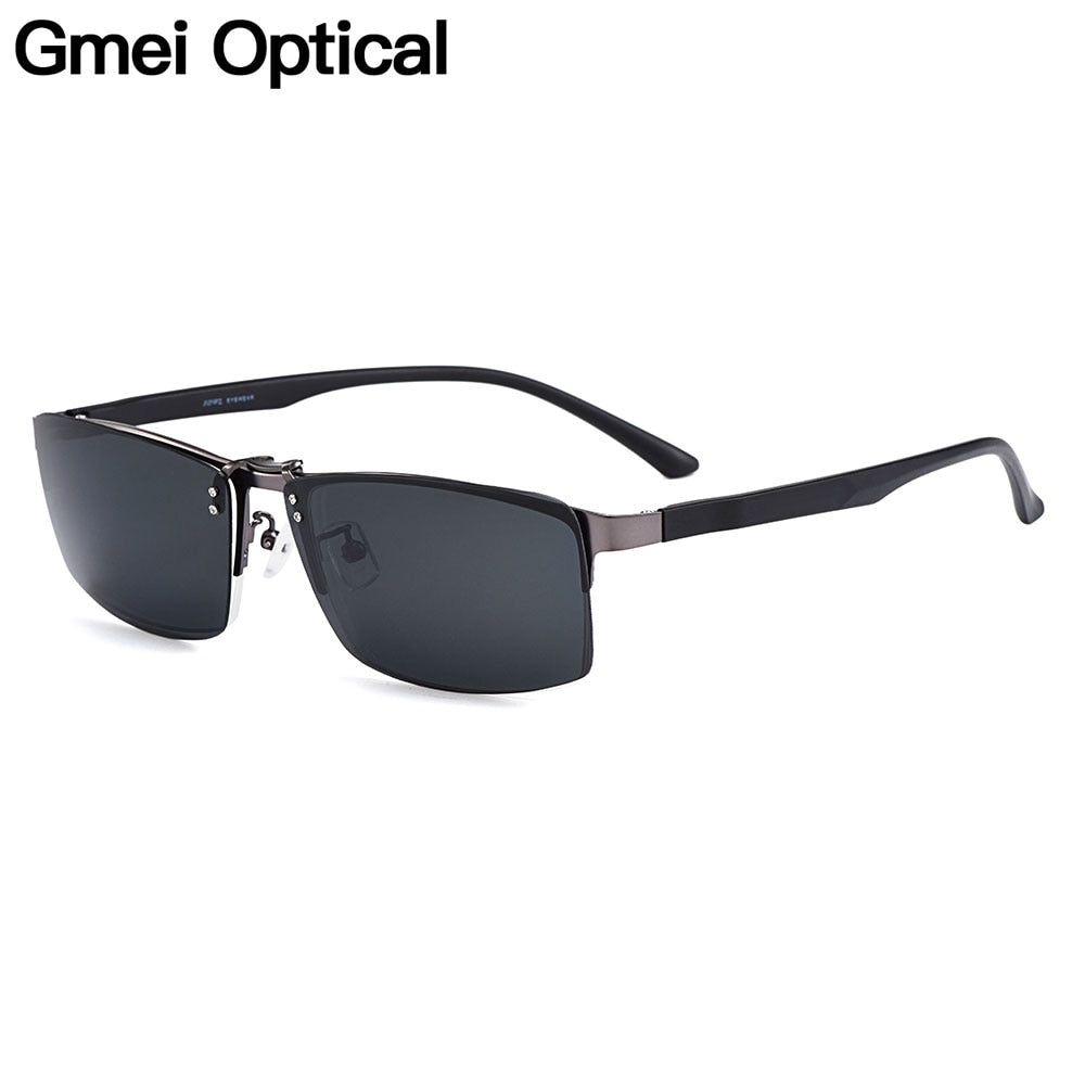 Gmei Optical Men Square Titanium Alloy Glasses Frame Ultralight Polarized Clip on Sunglasses Optical Eyewear S9336