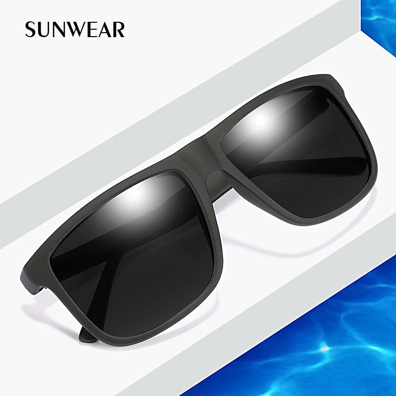 SUNWEAR 2019 Luxury Sunglasses Men Polarized Fashion Design Square Plastic Sun Glasses Driving Sunglass Oculos