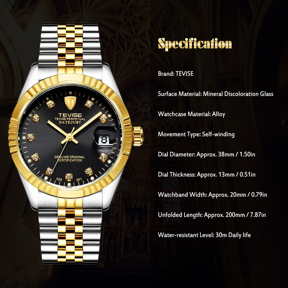 TEVISE Mens Watch Fashion Luxury Wristwatch Waterproof Semi-automatic Mechanical Watch Luminous Sport Casual relogio Watch