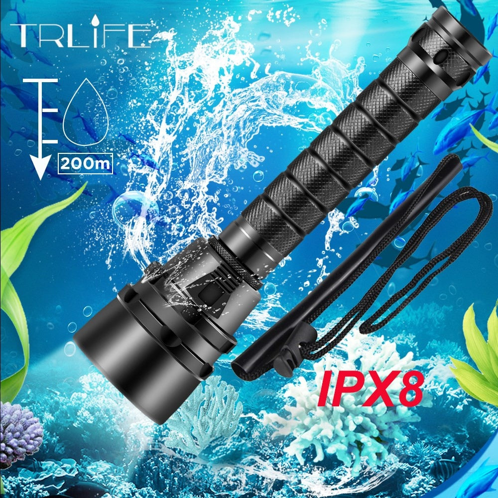 40000lumens Professional Powerful led Waterproof Scuba Diving Flashlight  Diver Light LED Underwater Torch Lamp Lanterna