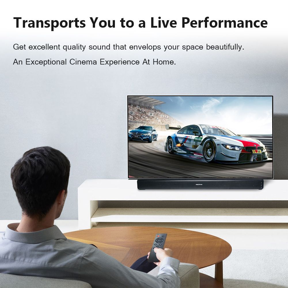 OKEPOO Bluetooth TV Soundbar 29.5'' 2.0 Channel Audio Stereo 40 Watts Optical RCA 3D Surround Home Theatre System Wall Mount