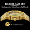 18K Gold Watch Men Luxury Brand Diamond Mens Watches Top Brand Luxury FF Iced Out Male Quartz Watch Calender Unique Gift For Men