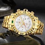 TEMEITE Creative Golden Men Quartz Wristwatches 3D Dial Design Full Steel Calendar Waterproof Big Watches Top Brand Luxury Clock