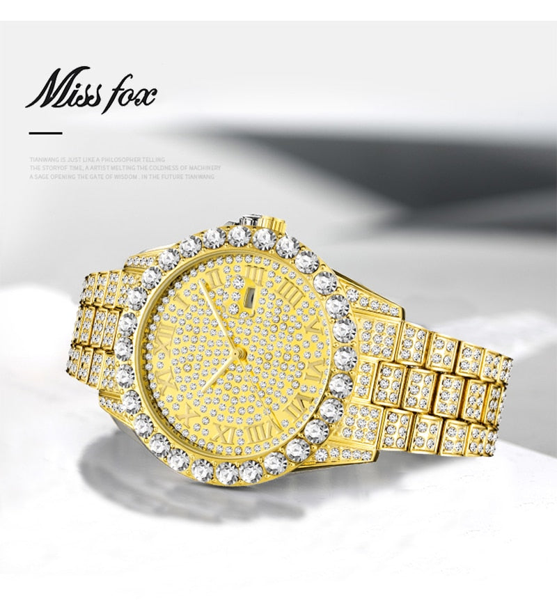 MISSFOX Men's Watch 2019 Top Selling Luxury Brand Gold Men Fashion Watches Men Big Diamond Bracelet Luxury Watch Men Gift Box