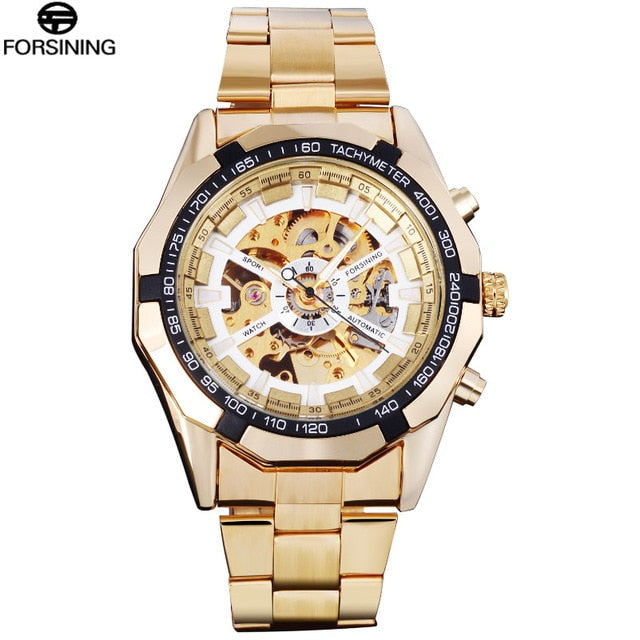 FORSINING Brand Men Automatic Watch Luxury Skeleton Mechanical Watches Men's Gold Stainless Steel Clock Relogios Masculino