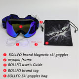 BOLLFO Brand Magnetic Ski Glasses Double Lens mountaineering glasses UV400 Anti-fog Ski Goggles Men Women snowmobile spectacles