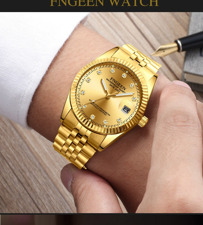 Men's Watches Gold Stainless Steel Quartz Watch Waterproof Date Luxury Brand Male Wristwatch Clock Relogio Masculino