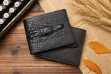 2018 Crocodile skin wallet men genuine leather small zipper short men wallets credit card holders coin pocket purse alligator