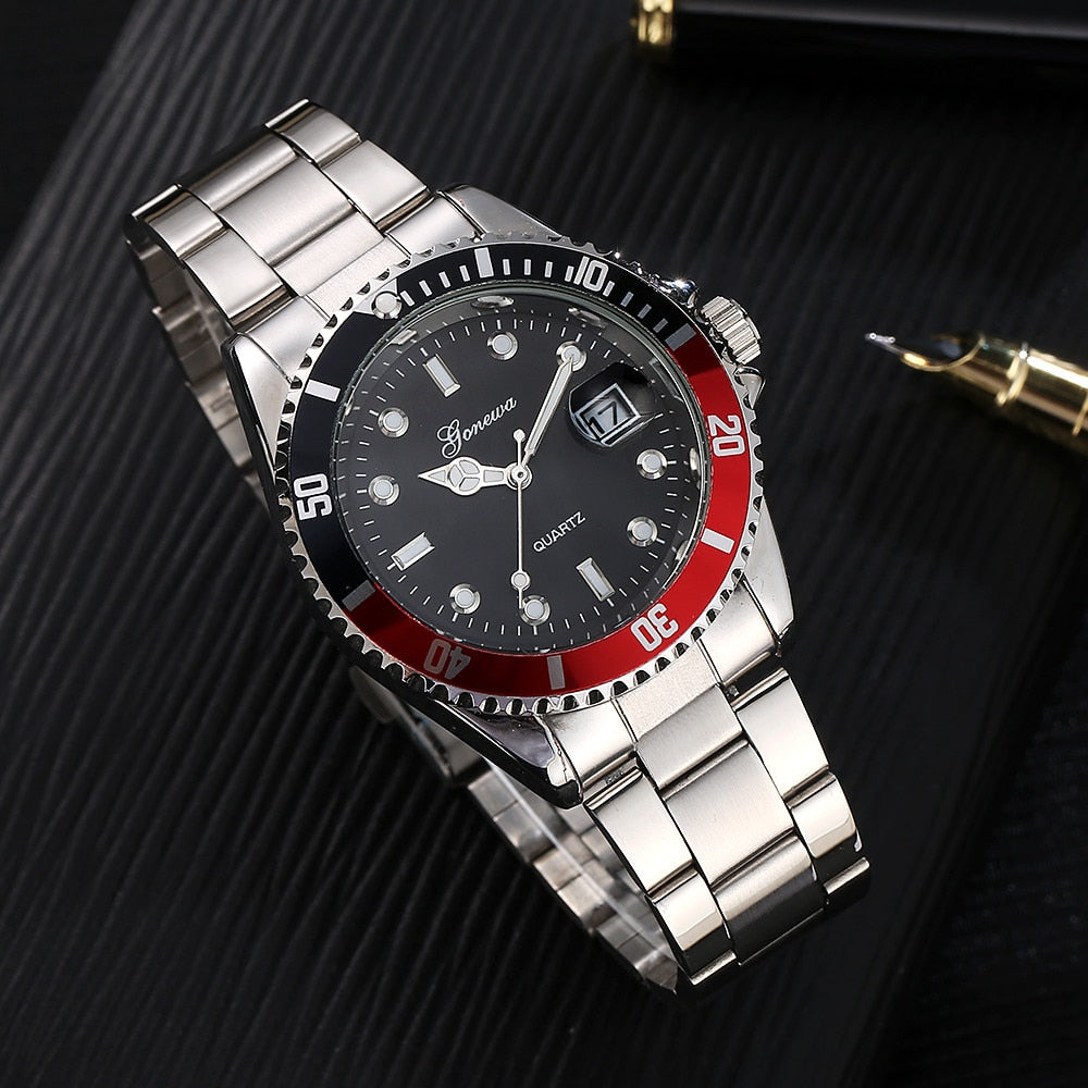 GONEWA Men Fashion Business Watches Military Stainless Steel Date Sport Quartz Analog Unisex Mens Clock Wrist Watch relogio