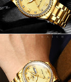 2019 High Quality Mens Watches Top Brand Luxury Quartz Watch Full Steel Diamond Male Clock Date Week Waterproof Gold Wristwatch