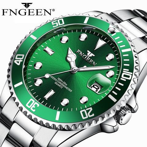 2019 New Mens Watches Top Brand Luxury Men Watch Waterproof Luminous Male Clock Quartz Wristwatch FNGEEN 8080 relogio masculino
