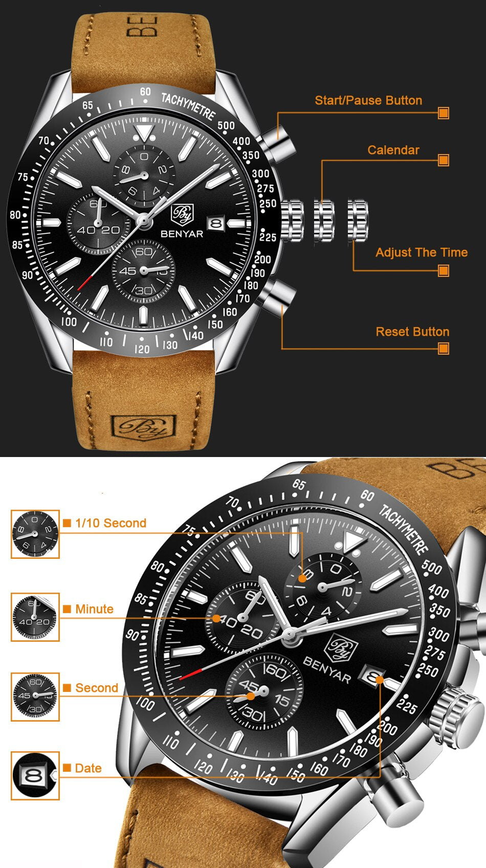 2019 Watch Men Luxury Brand BENYAR Mens Blue Watches Leather Band Wrist Watches Men's Chronograph Watch Male Relogio Masculino