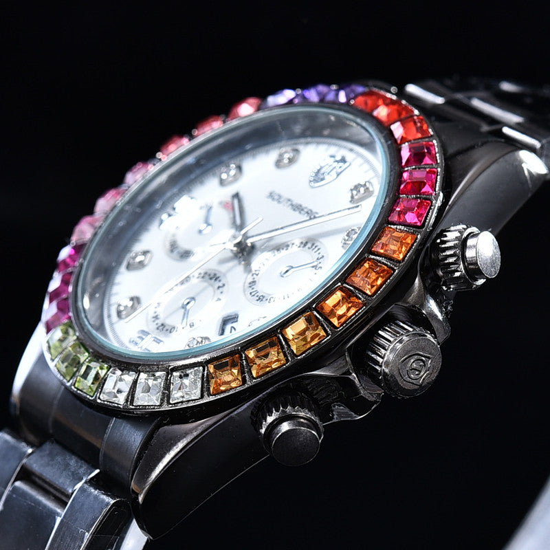 Luxury SOUTHBERG Watch Men  GMT Glass Date Stainless Steel Women Mens Sport Quartz Color rhinestone Watches Reloj Hombre