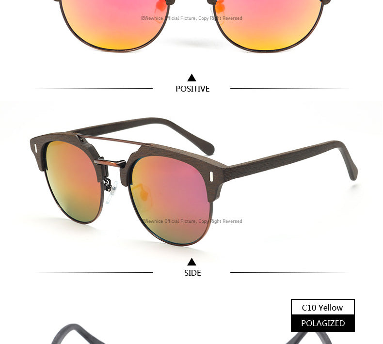 Viewnice 2018 Wooden Sunglasses Man Retro Gafas de sol Designer Sun Glasses Metal and Wood Polarized Sunglasses Women Eyewear Oc