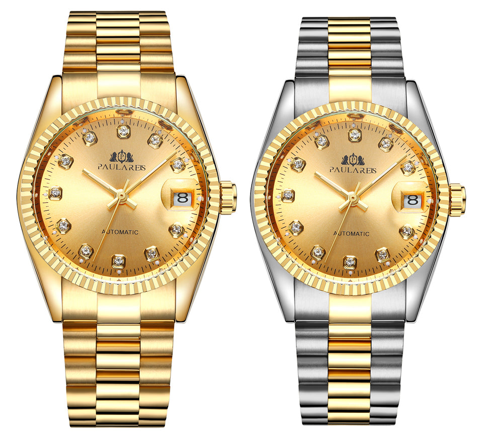 Men Automatic Self Wind Mechanical Stainless Steel Strap Datejust Luxury Simple Gold Silver 2 Tones Just 36mm Date Watch
