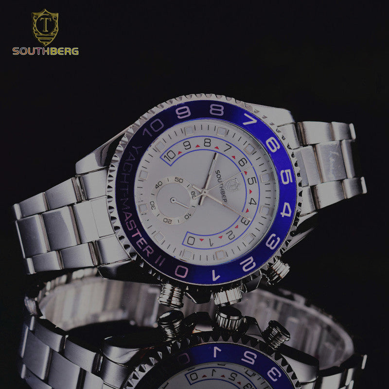 2017 SOUTHBERG Gold Watch Men  Rotatable Bezel Sapphire Glass Stainless steel Band Sport Quartz WristWatch reloj relogio 44MM