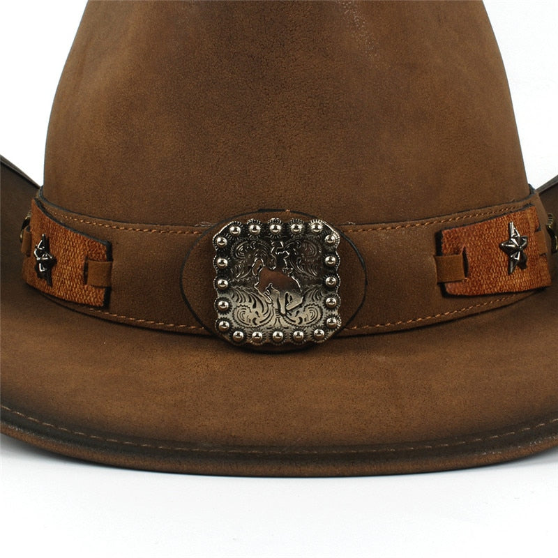 Cowboy Hats Women Men Western Cowboy Hat For Dad Gentleman Lady Leather Sombrero Hombre Jazz Caps Size 58CM