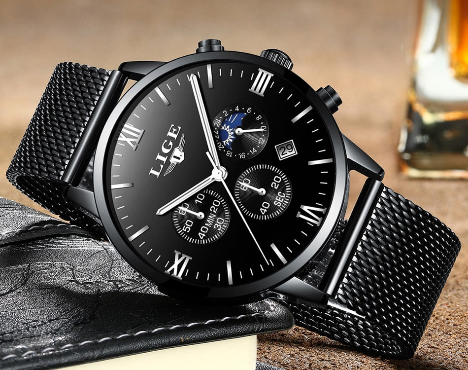LIGE Mens Watches Top Luxury Brand Business Gold Quartz Watch Men Casual Mesh Steel Waterproof Sport Watch Relogio Masculino+Box
