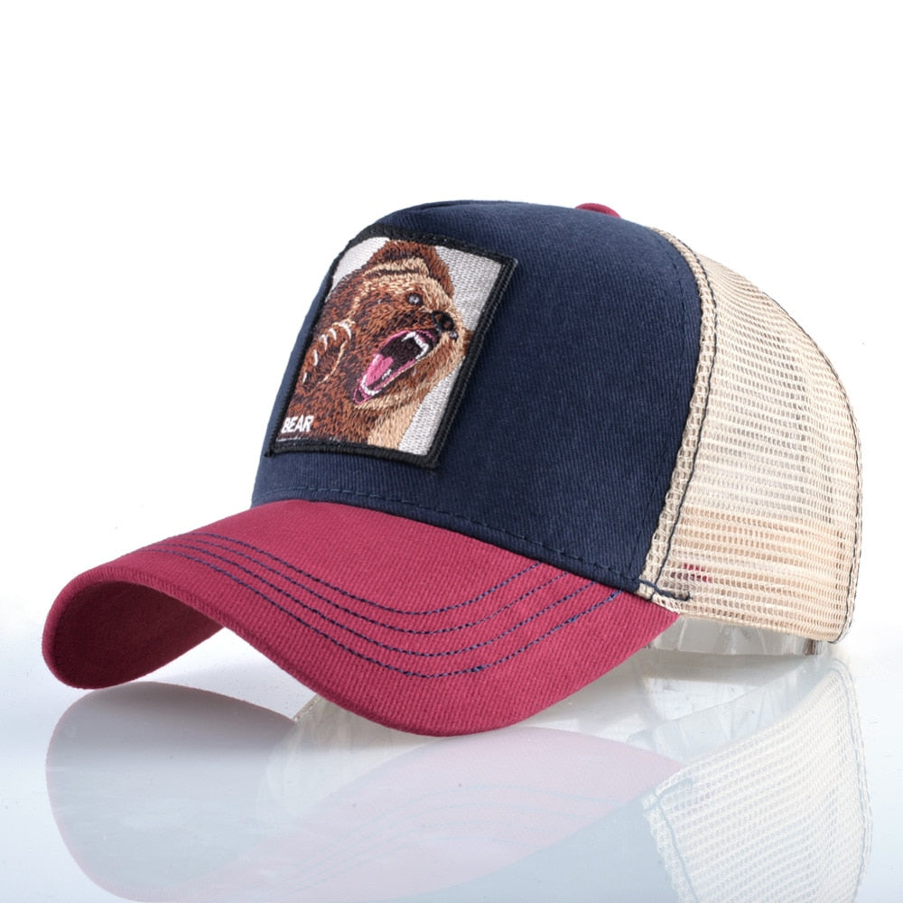 TQMSMY Summer Unisex Hip Hop Embroidered Animal Men Baseball Caps Women Breathable Mesh Snapback Hats Men's Trucker Hats Cap