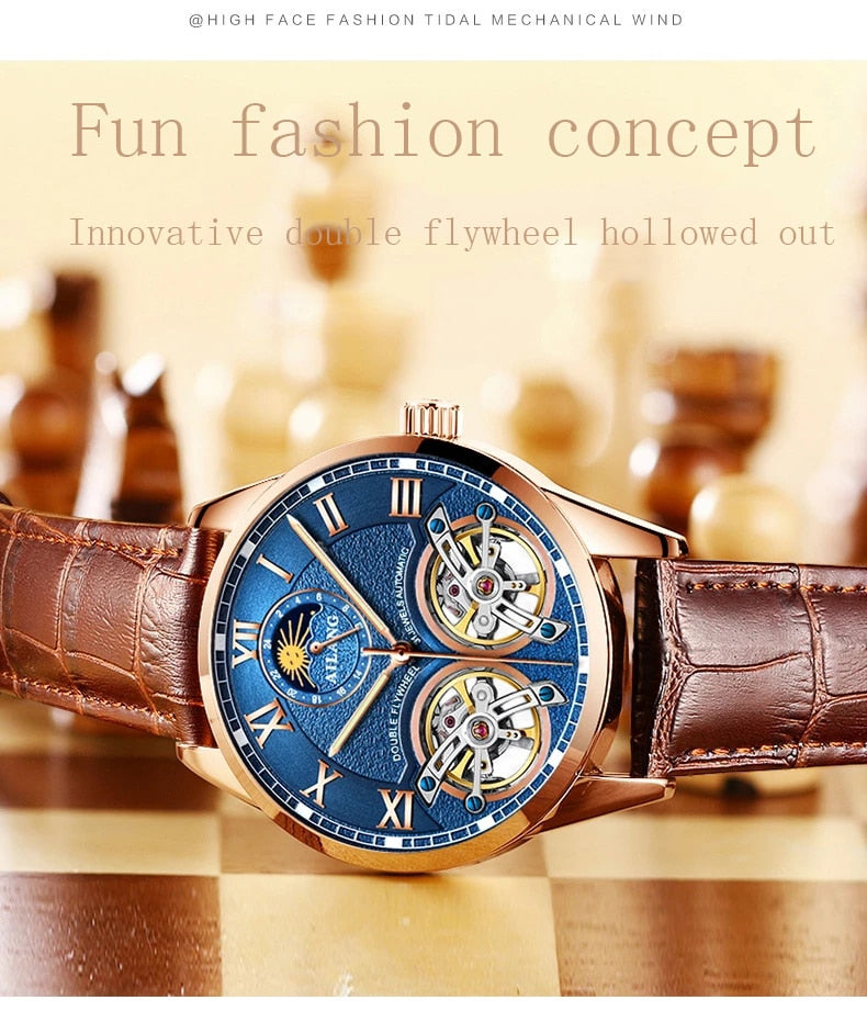 AILANG 2019 latest design watch men's double flywheel automatic mechanical watch fashion casual business men's clock Original