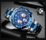Relogio Masculino MEGALITH Watch Men Sports Waterproof Military Quartz Clock Stainless Steel Luminous Chronograph Wrist Watches