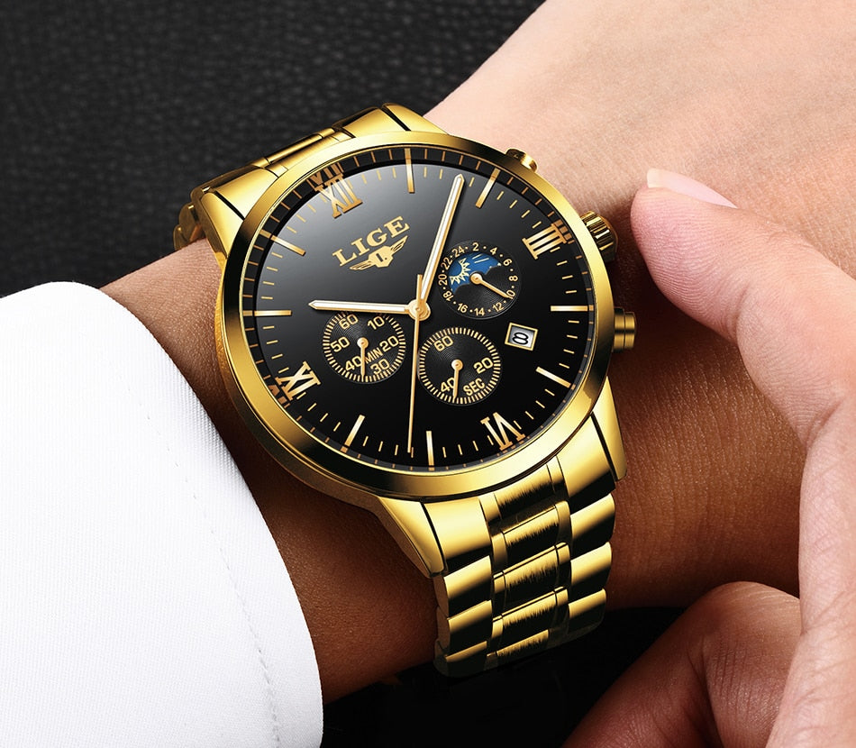 LIGE Mens Watches Top Brand Quartz movement Luxury business Gold watch Military sport waterproof Wrist watch Relogio Masculino