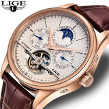 LIGE Brand Men Watches Automatic Mechanical Watch Tourbillon Sport Clock Casual Leather Business Wrist Watch Gold Relojes Hombre
