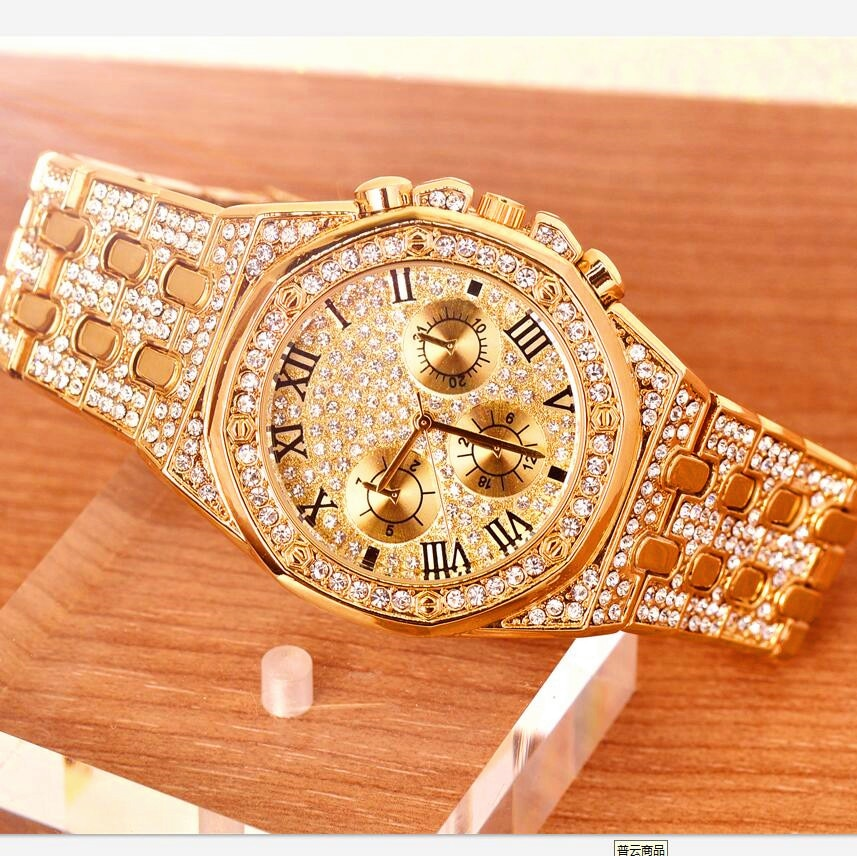 Men Watches Top Brand Luxury Iced Out Watch Gold Diamond Watch for Men Square Quartz Waterproof Wristwatch Relogio Masculino