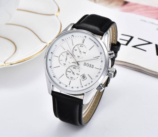 2019 Boss Watch Luxury Mens watches quartz stopwatch all function all pointers work boss waterproof man chronograph