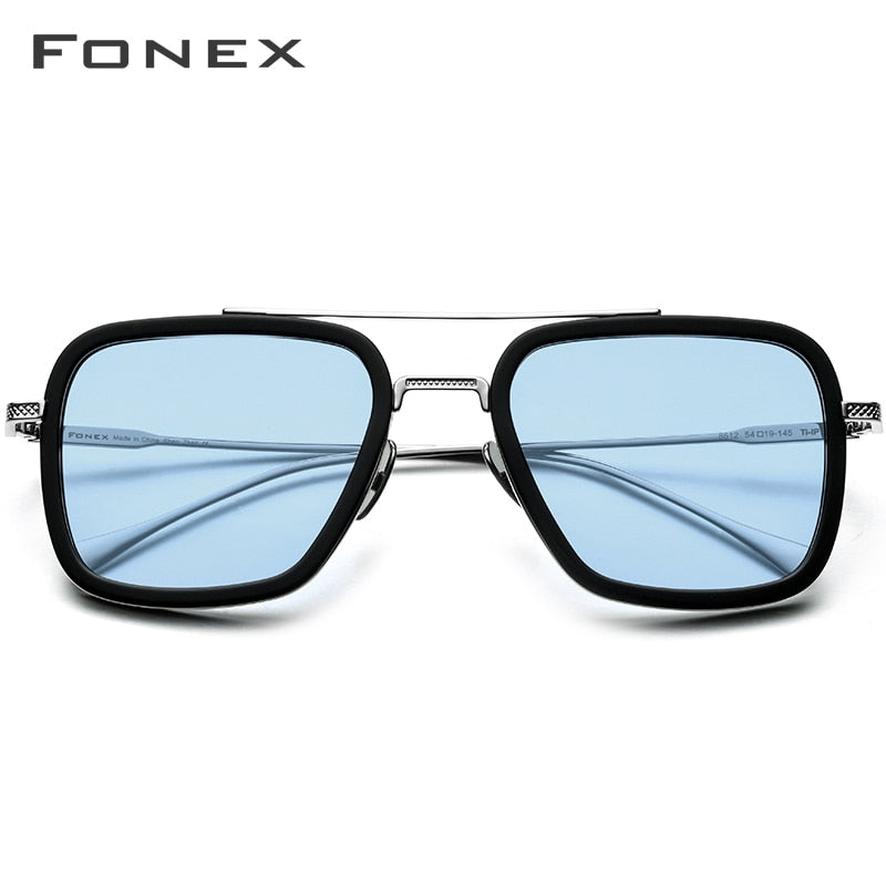 FONEX Pure Titanium Acetate Polarized Sunglass Men Retro Tony Stark Sunglasses 2019 New Vintage Edith Sun Glasses for Women 8512