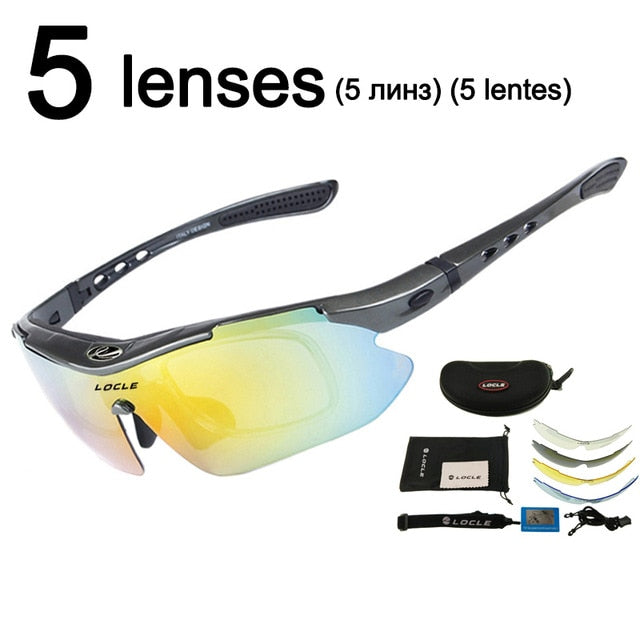 LOCLE Professional Cycling Eyewear UV400 Polarized Cycling Glasses Bike Bicycle Glasses Cycling Sunglasses Gafas Cicismo Goggles